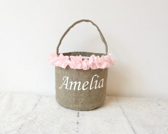 Rustic Flower girl basket Personalized easter basket for girl   easter basket blush bridesmaid basket   Burlap Flower girl basket  burlap