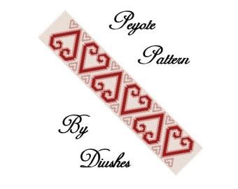 Peyote Beading pattern Bracelet cuff Heart. Even count peyote, seed bead pattern, beaded, beadwork, bewoven, bead graph, peyote hearts