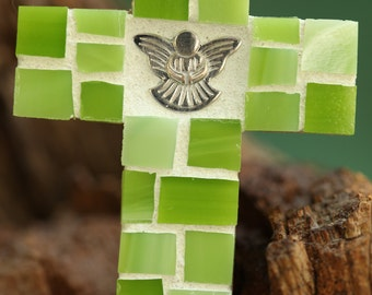 Mosaic Cross Magnet~Stained Glass Cross Magnet~Angel Cross Magnet~Green Cross~Cross Magnet~Angel Magnet~Guardian Angel~Thank You Gift~Faith