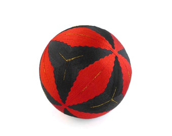 "VINTAGE Beautiful "" Temari "" Ball , Embroidering Thread Ball , Japanese Art Ball , Modern Geometric Design , Hand Crafted , for Collector"