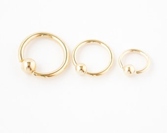 14k Yellow Gold Captive Bead Ring Body Piercings 16g CBR