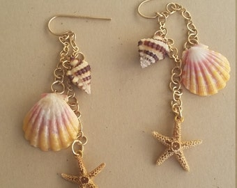 Lovely Pink ,Yellow and White baby Sunrise shell earrings with Starfish