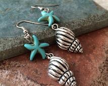 Turquoise Starfish and Conch Seashell Dangle Drop Earrings