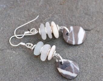 Beach Pebble & Beach Glass Earrings, Seaglass Earrings, Rustic Earrings, Drilled Beach Glass, Drilled Beach Stones, Beige Earthy Earrings,