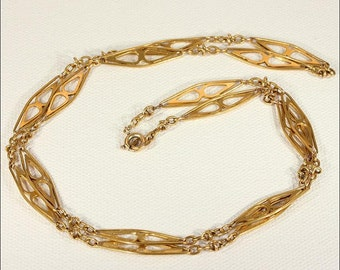 Antique French Chain Necklace in 18k Gold, 25 inches
