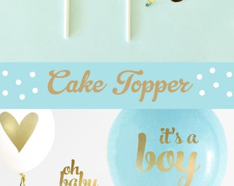 Boy Baby Shower Cake Topper Boy - Blue and Gold Baby Shower Cake Topper - Boy Baby Shower Decorations - OH BABY Cake Topper (EB3116)