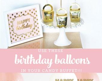 Pink Balloons 1 Balloon First Birthday Balloons Pink Birthday Balloons Pink and Gold First Birthday Decorations (EB3110BIR) SET of 3 Balloon