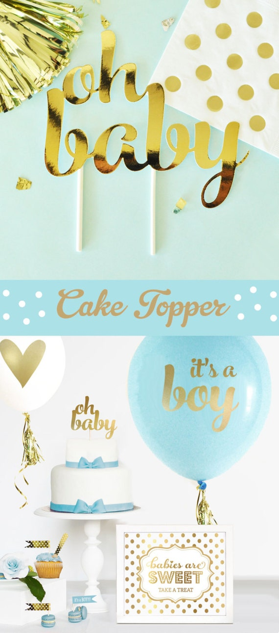 Boy Baby Shower Cake Topper Boy Blue And Gold Baby Shower