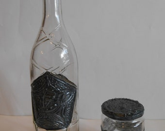 DECORATED Bottle with a bonus of a Decorated Jar. Cast Iron Effect!