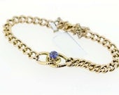 14K Gold Chain Bracelet with Prong Set Lavender Blue Synthetic Stone