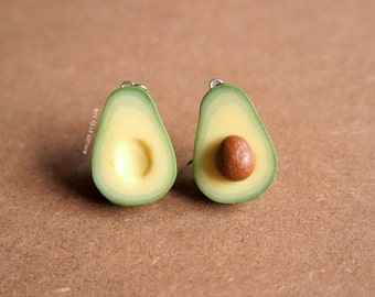 Avocado Earrings, 925 Silver or Nickel-Free - Miniature Food Jewelry, Polymer Clay Food. Miniature Avocado. Avocado Jewelry.