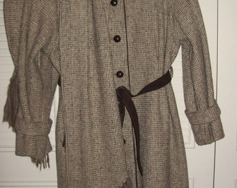 Coat 10, Wool Tweed Fitted Belted Heavy Warm Coat Kate Middleton Style Size 10