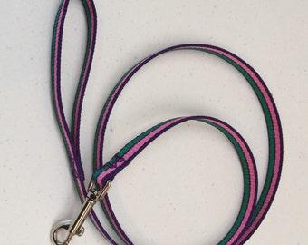 Leash Purple/Pink/Green Striped 4-foot Dog Lead