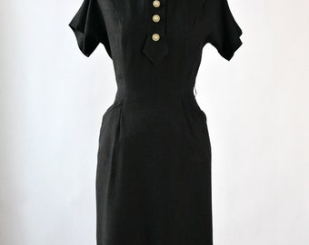 1950s vintage dress - 50s fitted black dress - small : Black Orchid dress