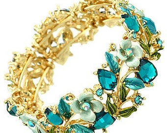Vintage Floral Bangle in Bright Gold and Turquoise