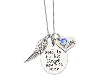 Personalized Necklace - I used to be his Angel now he's mine - Hand Stamped Necklace - Angel Wing - Heart Charm - Memorial Jewelry- ANY NAME