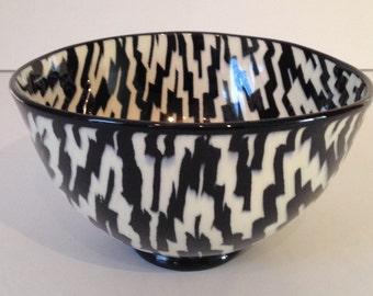 Vintage Nerikomi Black and White Geometric Porcelain Bowl Pottery