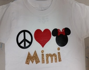 Peace Love Minnie Personalized Shirt