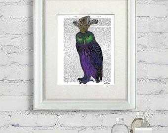 Purple Owl Print - bird illustration owl illustration owl painting owl picture owl decor bedroom décor living room art print dining room art