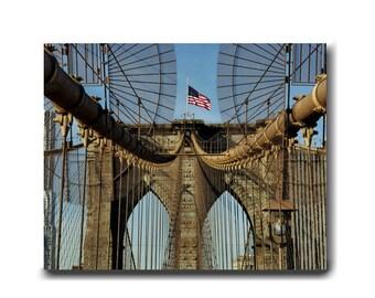 Brooklyn Bridge art canvas photograph, New York canvas art, bridge architecture, brooklyn bridge wall art canvas large industrial wall decor
