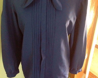 Navy blue vintage blouse with tie neckline....tuxedo pleats....long sleeves