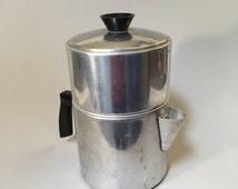 VINTAGE COFFEE POT, Metal coffee pot, Double coffee pot, Retro Coffee Pot, farmhouse decor, vintage housewares, vintage Foley Coffee pot