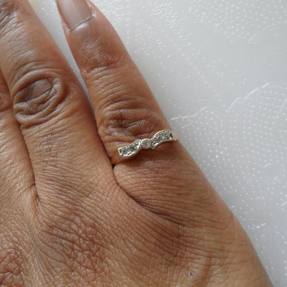New Old Stock Faux Diamond Ring Small Engagement Ring Modest