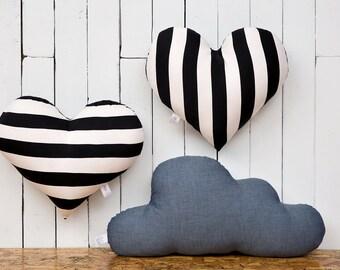 Black and white pillow | Heart cushion | stripes pillow | teen throw pillow | black and white room decor | girl's room decor | teen decor