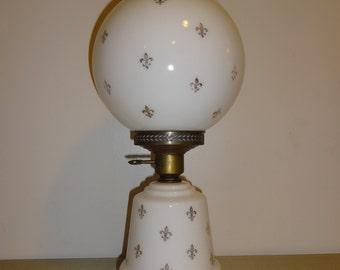 SALE Vintage Mid Century  - Fleur De Lis - Milk Glass Globe Table Lamp
