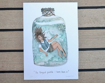 """Girl in a Bottle - limited edition print of an original illustration (8"""" x 11.5"""")"""