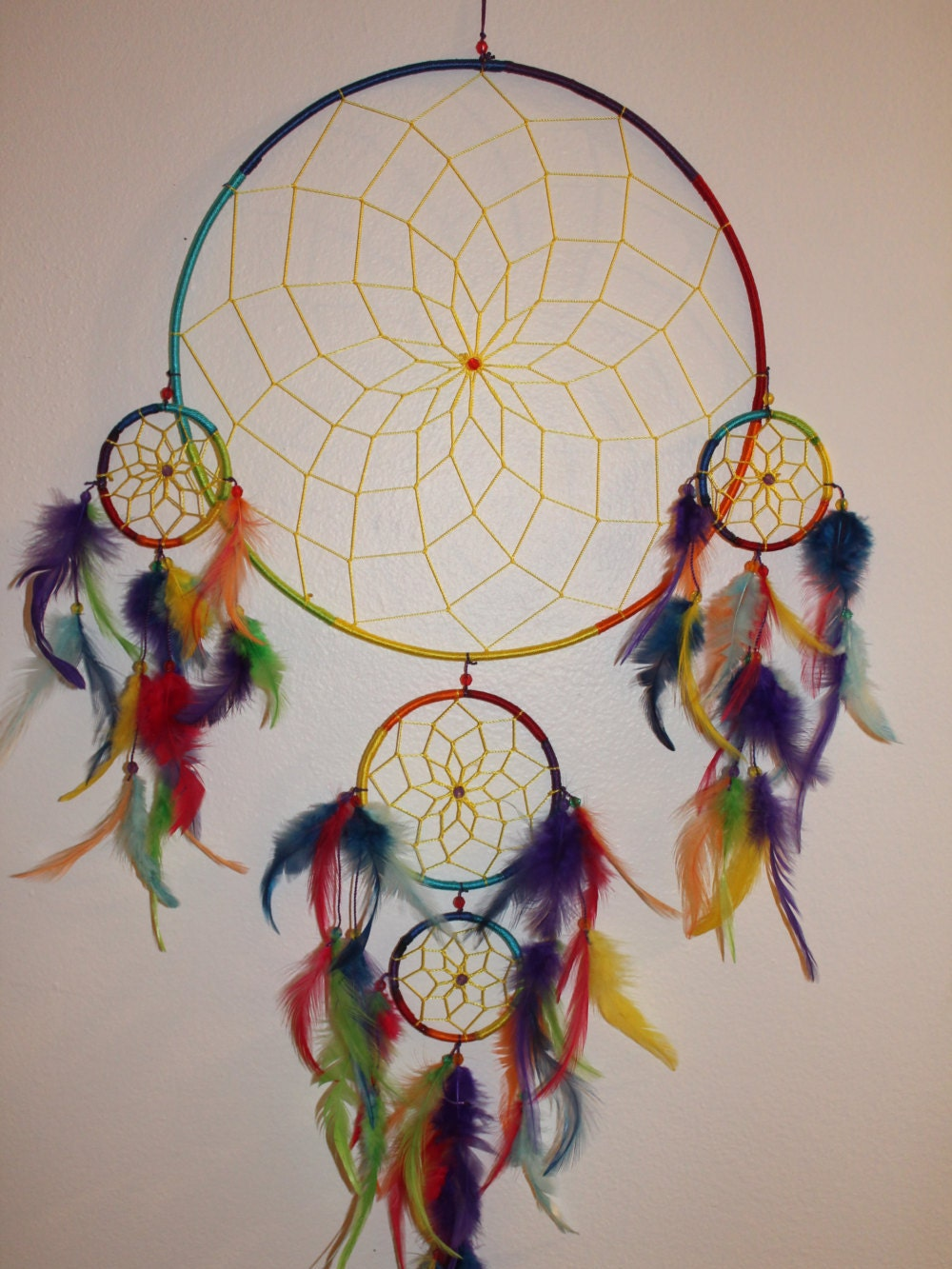 Large tie dye dream catcher for How to tie a dreamcatcher web