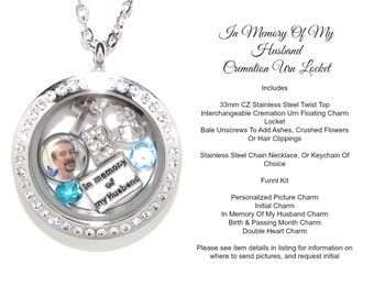 Husband Cremation Urn 316L Stainless Steel Rhinestone Floating Charm Cremation Locket With Cubic Zirconia Crystals Loss Of Spouse Sympathy