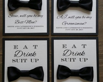 Will You Be My Groomsman card, Bow Tie, Bridal Party, Black