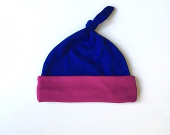 upcycled knottie baby hat | royal blue + fuchsia | 3-6 months