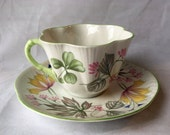 """Vintage Shelley """"Columbine"""" Tea Cup and Saucer, Made in England, Fine Bone China, Columbine Pattern, Dainty, 1950s"""