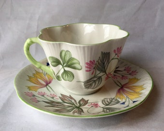 "Vintage Shelley ""Columbine"" Tea Cup and Saucer, Made in England, Fine Bone China, Columbine Pattern, Dainty, 1950s"