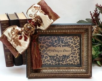 5x7inch Decorative Copper and Black Frame with Bow, Brooch, and Tassel