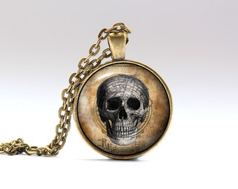 Skull jewelry Steampunk pendant Gothic necklace SNW16