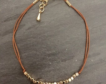 Gold Seed Bead String Adjustable Bracelet