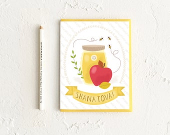 Rosh Hashanah Card, Shana Tova, Apples and Honey, Jewish New Year