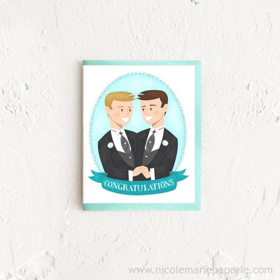Wedding Shower Gift Ideas For Gay Couple : ... Gay Wedding Gift, Newly Wedded Couple, Card for Gay Wedding, Card for