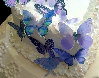 12 Edible Purple Violet Butterfly Edible Cake / Cupcake Toppers,
