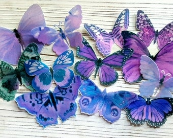 Edible Pastel-Purple Butterfly / Edible Cake / Cupcake Toppers, (12)
