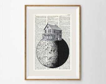 Whimsical Collage Printed On Vintage Dictionary Page. HOUSE on the MOON, Quirky prints, Home decor, Original wall art, Black and White, #092