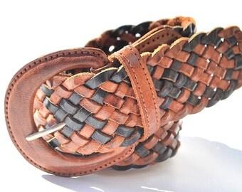 Vintage Black Brown Leather Wide Braided Woven Coachella Bonnaroo Festival Hippie Cincher Belt