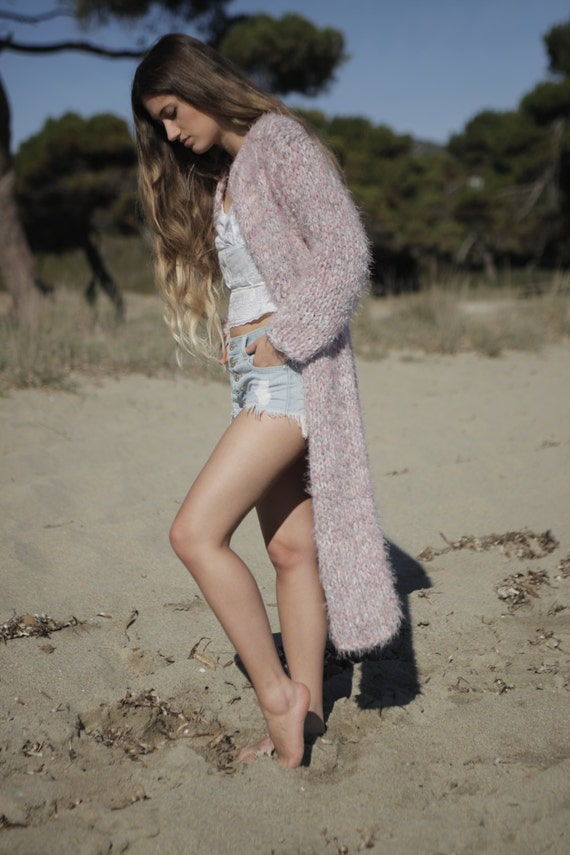Long chunky cardigan blush pink hand knit chunky sweater