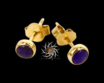18k Studs - Gold Studs - Ssugilite Studs - Tiny Studs - Small Studs - Tribal Studs - Indian Studs - Tiny Earrings - Gemstone Earrings