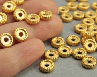 15 pcs Gold Spacer Beads, 24K Matte Gold Rondelle Spacers, (8mm) Gold Rondelle Spacer Beads, Metal Gold Spacer Beads, Gold Spacers / GPY-029