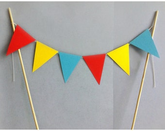 Carnival Cake Topper / Flag Cake Topper / Circus Party Decoration / Red Yellow Blue / Baby Shower Decor / Birthday Party Decoration