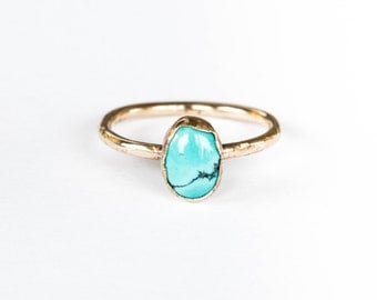 14k gold rustic turquoise engagement ring, gold turquoise ring, rustic engagement ring